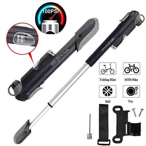 LangTek Mini Fahrradpumpe, Fahrrad Luftpumpe 100PSI Tragbare Teleskopische Fahrrad Handpumpe Starker Druck Passt auf Presta & Schrader (Zweiseitige Valve) für Rennrad, Mountainbike Fahrrad