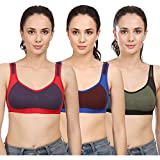 #9: Yes Beauty Multi Color Contasrt Design Non-Padded Sports Bra(incl. 3 Bra's)