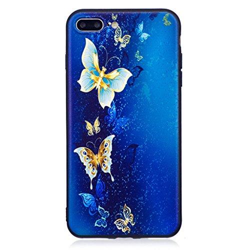 """Coque iPhone 7 Plus , IJIA Ultra-mince Adorable Hibou Beau Ciel étoilé TPU Noir Doux Silicone Bumper Case Cover Coque Housse Etui pour Apple iPhone 7 Plus 5.5"""" (BF41) BF43"""