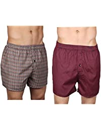 Neska Moda Men's Elasticated Cotton Multicolor Boxers With 1 Back Pocket - Pack Of 2