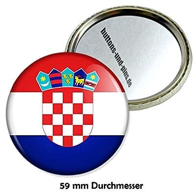 Kroatien Flagge Schminkspiegel mit 59 mm Durchmesser - Taschenspiegel Schminkspiegel Reisespiegel Handspiegel
