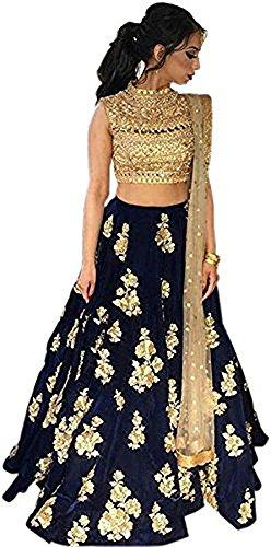 Women\'s Party Wear New Year Collection Special Sale OffeSalwar Style Bollywood Navy Blue Velvet Heavy Bridal Wedding Lehenga Chaniya Ghagra Choli
