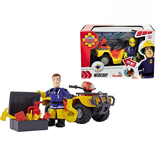 Feuerwehrmann Sam Figur mit Mercury Quad, Zubehör, 11x7 cm - Feuerwehr Mann Rettungs Fahrzeug Kinder Spielzeug Spiel Auto