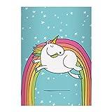 Kartenkaufrausch 2 Super süße Einhorn DIN A4 Schulhefte, Schreibhefte mit Regenbogen und Sternen in blau Lineatur 21 (liniertes Heft)