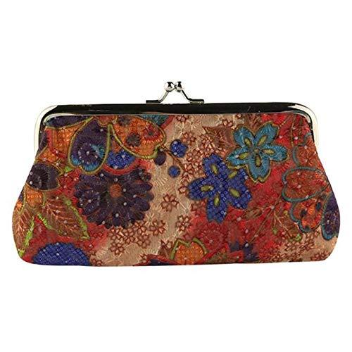COZOCO Frauen Dame Retro Vintage Blume Kleine Brieftasche Haspe Clutch Abendtasche Umschlag Handtasche Clutch Geldbörse -