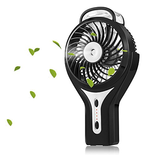 Preisvergleich Produktbild USB Handheld Ventilator, Mini Fan mit Zerstäuber,3 Modi der Windgeschwindigkeiten Tragbar-Klimaanlage für heiße Sommeraußen Reisen (Schwarz)