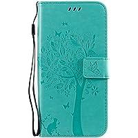Fatcatparadise Funda para Samsung Galaxy A70E [con Protector Pantalla], Relieve Dibujo Carcasa de Tipo Libro con Ranuras para Tarjetas de Soporte y Solapa Cubierta Carcasa Case (Verde)