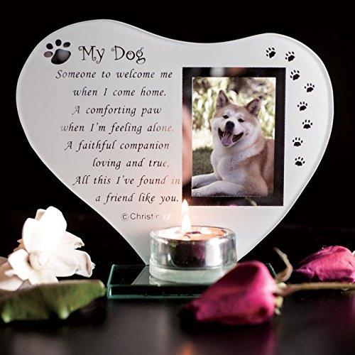My Dog - Inspirierend Gedicht, Kerze und Fotohalter Glasgedenktafel