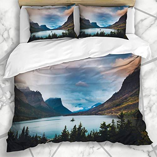 LISUMAL Bettwäsche - Bettwäscheset Gletscher-Blaue Wilde Gans-Insel unter Wolken-Natur Montana Parks Orange USA Adventure Design Mikrofaser weich dreiteilig Mit 2 Kissenbezügen 160 * 220