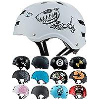 Skullcap® Casco BMX - Casco Skate - Casco Bici, Casco Niño, Blanco, Talla M, Robodog