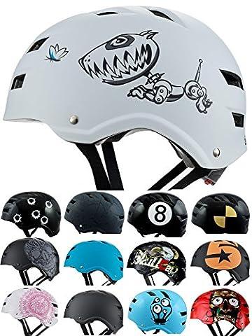 Skullcap® BMX Helm ☢ Skaterhelm ☢ Fahrradhelm ☢, Herren   Damen   Jungs & Kinderhelm, schwarz matt & glänzend (Robodog, M (54 - 56 cm))