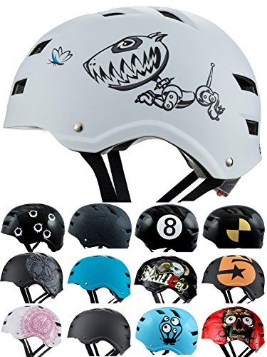 Skullcap BMX Helm  Skaterhelm  Fahrradhelm , Herren | Damen | Jungs & Kinderhelm, schwarz matt & glänzend (Robodog, M (54 - 56 cm))