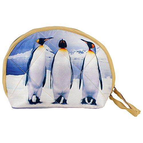 Indiano Digital Graphic Penguin Wristlet Borsa - Adorabile stampa all-over - trapuntato in poliestere Dupion Faux Seta - 8 x 6 x 2,5 pollici