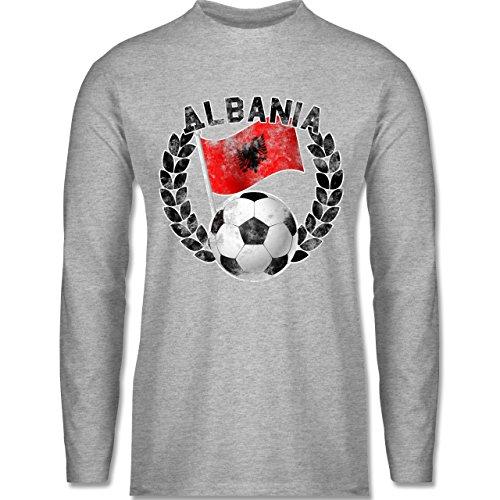 Shirtracer Fußball - Albania Flagge & Fußball Vintage - Herren Langarmshirt Grau Meliert