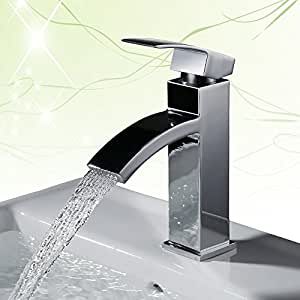 Homelody Chrom Armatur Wasserfall Wasserhahn Bad Einhebel Mischbatterie Badarmatur Waschtischarmatur Waschbeckenarmatur Einhebelmischer Waschtischbatterie für badzimmer …