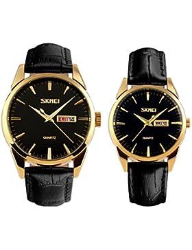 Kleid schwarze Gold Armbanduhr für Liebhaber / Paare analoge Quarzgeschäft beiläufige Uhr 2ST Kalender Männer