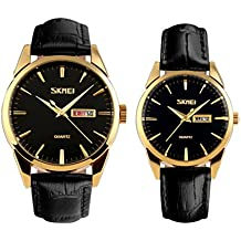 vestir reloj de pulsera de oro negro para los amantes/parejas de cuarzo analógico de