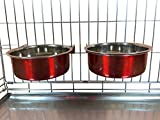 Ellie-Bo Pair of Dog Bowls for Crates/Cages or Pens, Large, 2.0 Litre, Red