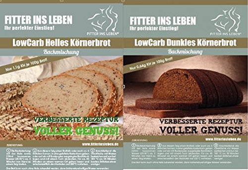 Körner Eiweißbrot Brot-Backmischung Low Carb Einsteigerpaket Kennenlernpaket geringer Kohlenhydratanteil (Kombipaket: 1x Hell, 1x Dunkel)