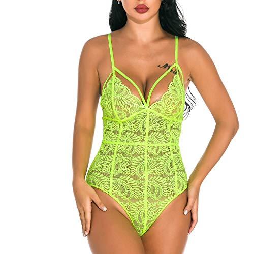 Miss Fortan Body Dessous V-Ausschnitt Reizwäsche Erotic Damen Lingerie Spitzen Bodysuit, Siamese Lace Top Body Shaping Unterwäsche -