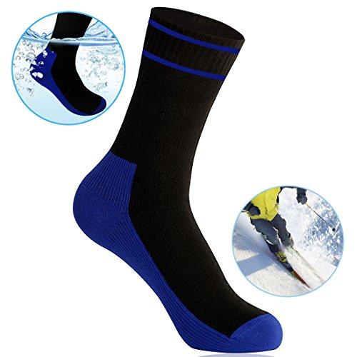 WATERFLY Wasserdichte Ultraleichte Atmungsaktive Kniestrümpfe Socken zum Angeln Wandern Klettern Joggen Discgolf und für Motorrad Trips (Schwarz, XL)