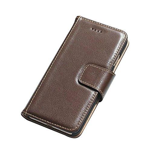 Luxus Echtes Leder Tasche Geldbörse Horizontale Flip Folio Stand Case Cover mit magnetischen Wölbung & Card Slots Für IPhone 7 ( Color : Wine ) Brown