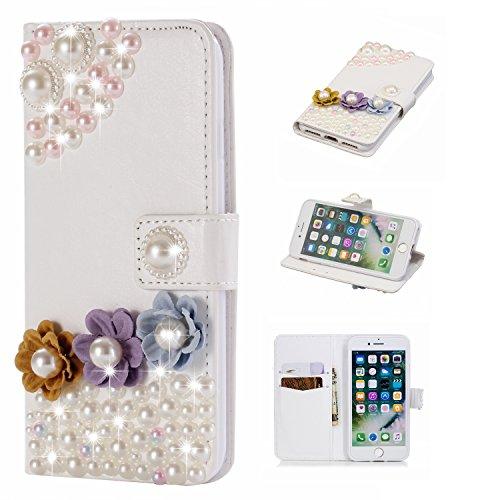 Artfeel iPhone 7 Bling Diamant Brieftasche Hülle,iPhone 8 Luxus 3D Handgefertigt Glänzend Glitzer Kristall Strass PU Leder Flip Ständer Handytasche mit Kartenfach Magnetverschluss Schutzhülle für iPhone 7/8 4.7 zoll,Bunte Blume Perle (Ende Im Inneren Auge)