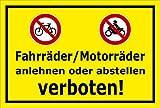 Schild - Fahrräder / Motorräder anlehnen oder abstellen verboten - 30x20cm mit Bohrlöchern | stabile 3mm starke Aluminiumverbundplatte – S00050-048-C +++ in 20 Varianten erhältlich