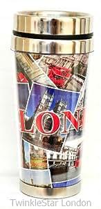 I Love London Souvenir INSULATED TRAVEL COFFEE MUG FLASK CUP - LONDON TRAVEL MUG by Awnhill
