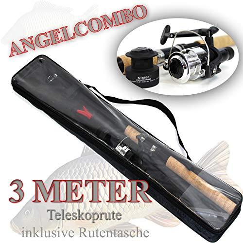 Komplett Angelset Karpfenrute Teleskop- Angel- Rute + Rolle + Spule + Rutentasche ü5ü 212