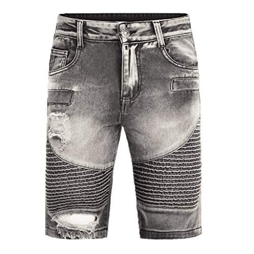 Shorts Hosen, Jogginghosen, Fitnesshosen Männer Sommer Kurze Jeans Herren Jean Shorts Skate Board Harem Fashion Jean Grau XL