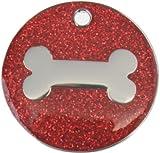 Just Pets Quality Enamel Red Glitter Dog Tag, Dog Bone Design, Personalised, Engraved Free