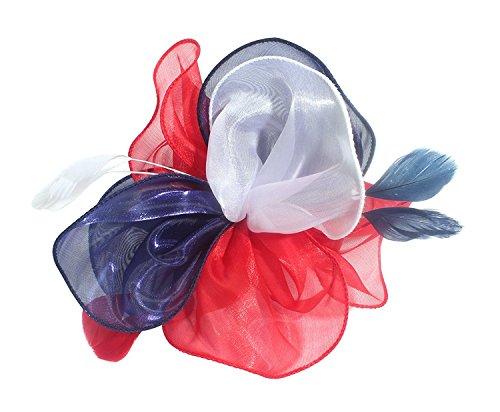Hut Cocktail Party Tee Kopfbedeckung Blume Mesh Organza Bänder Federn auf einem Stirnband und Gabel Clip für Mädchen und Damen (Hüte & Fascinators Online)