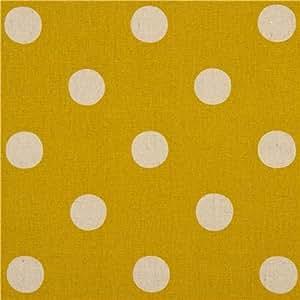 Tissu en popeline Echino jaune à pois - Maruco