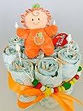 Elfenstall Windeltorte/Pamperstorte mit Spielzeug und Schnullertkette als tolles Geschenk/Geschenkset zur Geburt oder Taufe auf Wunsch mit Name des Babys (Trudi-Rassel)