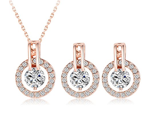 - 51s72 i5QuL - La Vivacita 18ct rose Gold plated Brilliance jewellery set with swaovski crystals Gift for Women and Girls