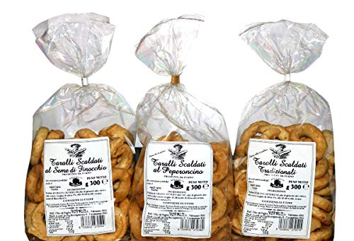 TRIS TARALLI di PUGLIA | 3 Taralli Scaldati di Puglia | Prodotto da forno ideale per snack | Vi proponiamo taralli all'olio, al seme di finocchio, al peperoncino | Prodotto artigianale