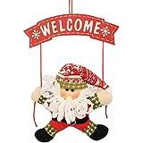 EOZY Colgante de Navidad para Puerta Decoración Árbol de Navidad 35CM Papá Noel