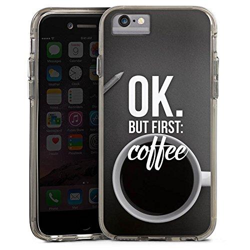 Apple iPhone 7 Bumper Hülle Bumper Case Glitzer Hülle Kaffee Coffee Sayings Bumper Case transparent grau