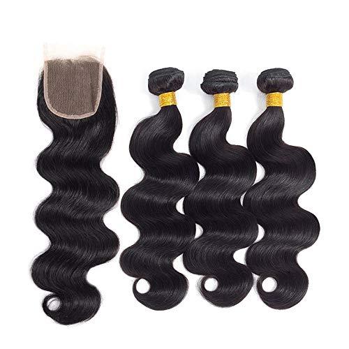 Fasci di onda del corpo dei capelli umani di capelli di elee con chiusura fasci di capelli naturali di colore naturale di 100% fasci di capelli naturale di capelli naturali di colore (12 14 16 + 10)