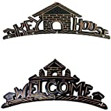 Crafts A To Z Beautiful Wooden Wall Hanging Key Holder (key House & Welcome) Wall Decorative Key Holder For Home Decor . A Perfect Key Holder Set Of 2