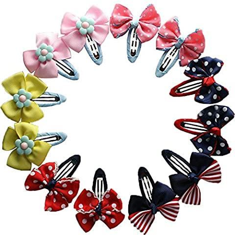 Butterfly Ribbon Flower Baby Hairpins Mini Hair Barrettes Pin For Baby Girls Kids Children Hair Accessories (12pcs