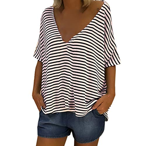 Kviklo Damen Plus Size Shirt Crop Top Vertikal Gestreift Konted Button Pocket Bluse Oversize(M(38),Blau) -