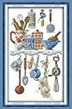YEESAM ART Neu Kreuzstich Stickpackung - Geschirr Kitchen Artikel 14 CT 23×38 cm DIY Stickerei Set Weiß Segeltuch - Kreuz Nähen Handarbeit Weihnachten Geschenke Cross Stitch Kit