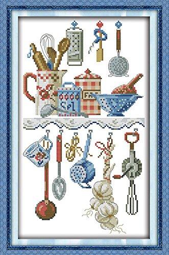 YEESAM ART Neu Kreuzstich Stickpackung - Geschirr Kitchen Artikel 14 CT 23×38 cm DIY Stickerei Set Weiß Segeltuch - Kreuz Nähen Handarbeit Weihnachten Geschenke Cross Stitch (Christmas Topper Tree Star Wars)