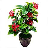 Artificial Plant With Pot By Random® With Large Green Leaves And Red Flowers  Earthy Brown Ceramic Pot With Real Looking Green Grass
