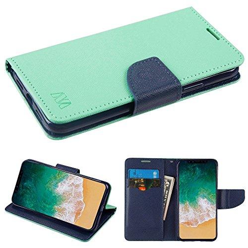 Fall + temperedglass Passt Apple iPhone X/10MYBAT Blaugrün Grün Muster/Dunkelblau Liner MyJacket Brieftasche (mit Kartenschlitz) -