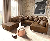 DELIFE Couch Clovis modular - Ecksofa, Sofa, Wohnlandschaft & Modulsofa (Braun, Sofa mit Hocker)