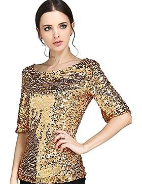 Vemubapis Las Mujeres De Cuello De Barco Lentejuelas Camiseta Oficina Blusa Color Dorado Brillante