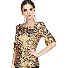 Vemubapis Mujeres De Cuello De Barco Lentejuelas Camiseta Oficina Blusa Color Dorado Brillante